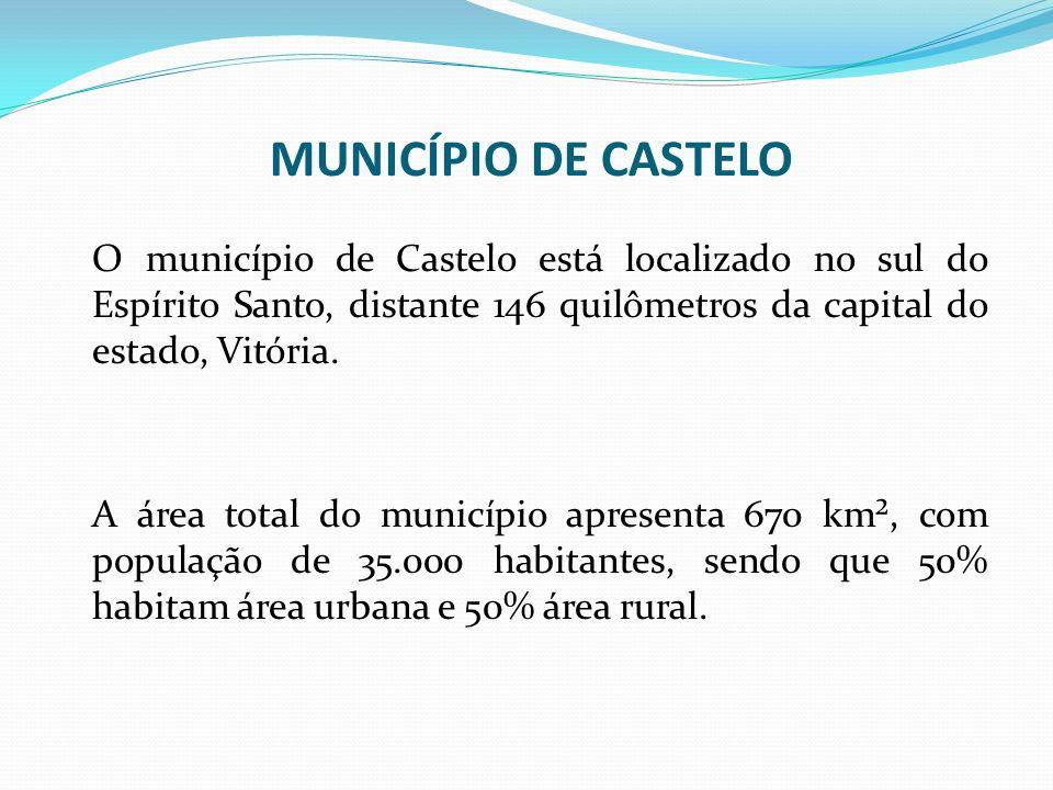 O município de Castelo está localizado no sul do Espírito Santo, distante 146 quilômetros da capital do estado, Vitória. A área total do município apr