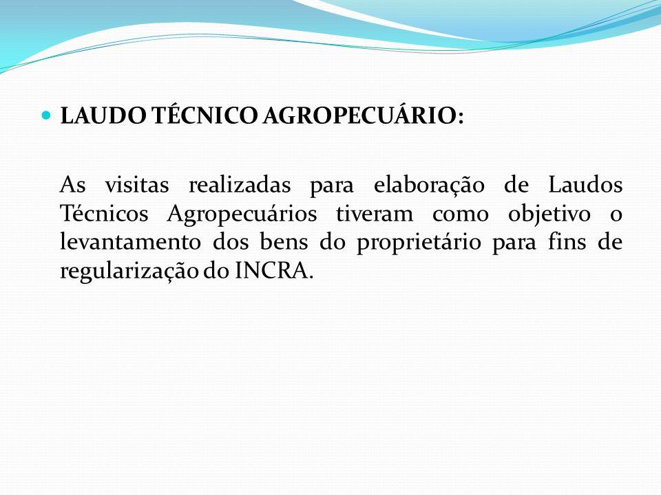 LAUDO TÉCNICO AGROPECUÁRIO: As visitas realizadas para elaboração de Laudos Técnicos Agropecuários tiveram como objetivo o levantamento dos bens do pr