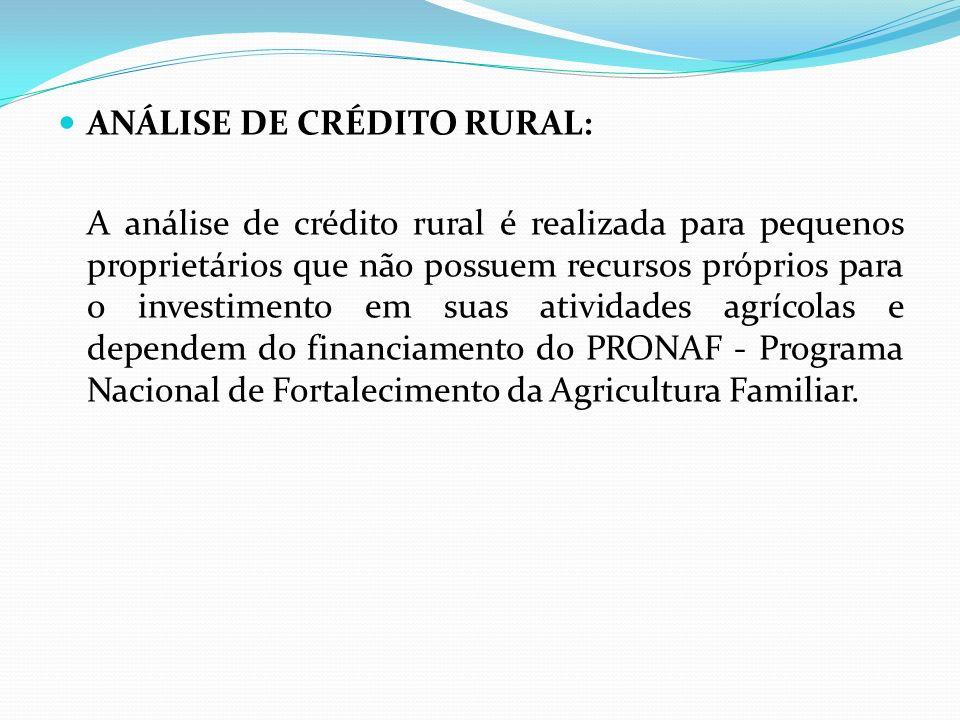 ANÁLISE DE CRÉDITO RURAL: A análise de crédito rural é realizada para pequenos proprietários que não possuem recursos próprios para o investimento em