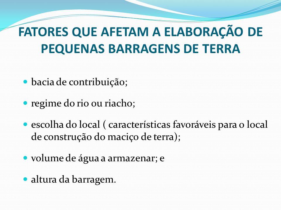 FATORES QUE AFETAM A ELABORAÇÃO DE PEQUENAS BARRAGENS DE TERRA bacia de contribuição; regime do rio ou riacho; escolha do local ( características favo