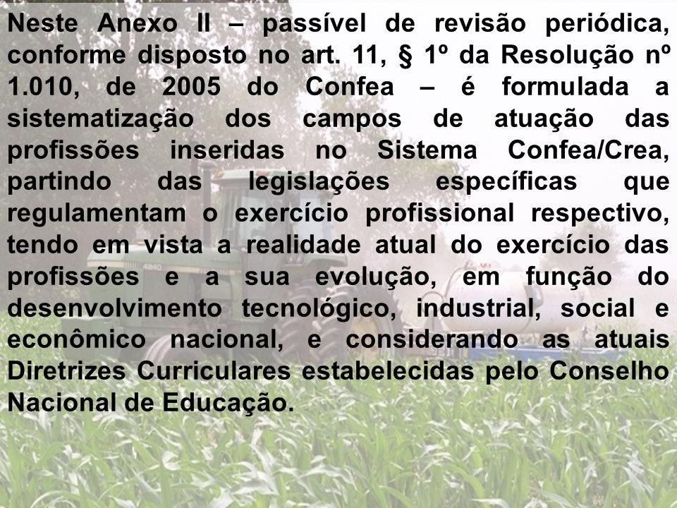 Neste Anexo II – passível de revisão periódica, conforme disposto no art. 11, § 1º da Resolução nº 1.010, de 2005 do Confea – é formulada a sistematiz