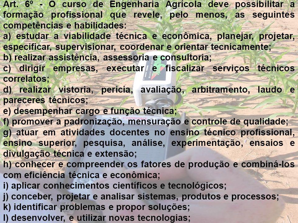 Art. 6º - O curso de Engenharia Agrícola deve possibilitar a formação profissional que revele, pelo menos, as seguintes competências e habilidades: a)