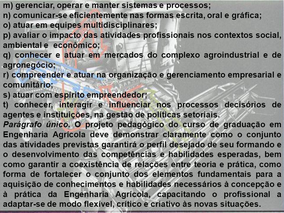 m) gerenciar, operar e manter sistemas e processos; n) comunicar-se eficientemente nas formas escrita, oral e gráfica; o) atuar em equipes multidiscip