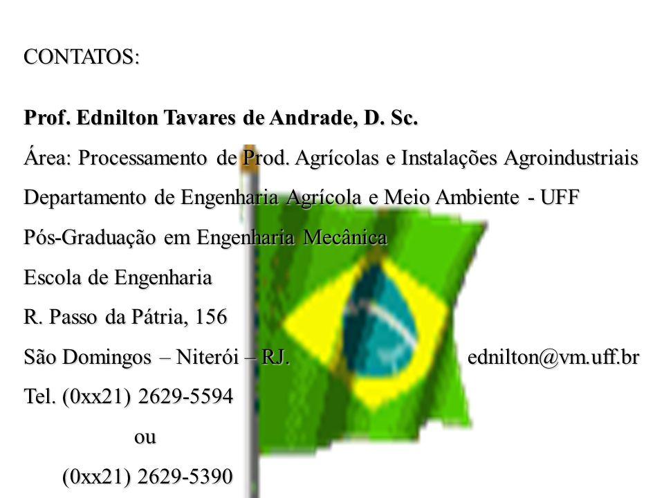 CONTATOS: Prof. Ednilton Tavares de Andrade, D. Sc. Área: Processamento de Prod. Agrícolas e Instalações Agroindustriais Departamento de Engenharia Ag