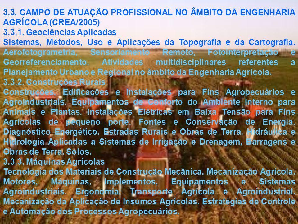 CAMPO PROFISSIONAL DA MODALIDADE AGRÍCOLA (Conforme Memorando encaminhado ao CREA em Maio de 2005 pelo assessor de ensino do CTC, Coordenador do Curso de Engenharia Agrícola e Ambiental da UFV, UFRRJ e UFLA) SETORESSUB-SETORES Construções Rurais e Ambiência Máquinas Agrícolas Tecnologias Pré, Infra e Pós-colheita Energização e Eletrificação Rural Água e Solo Economia Rural Planejamento Territorial.
