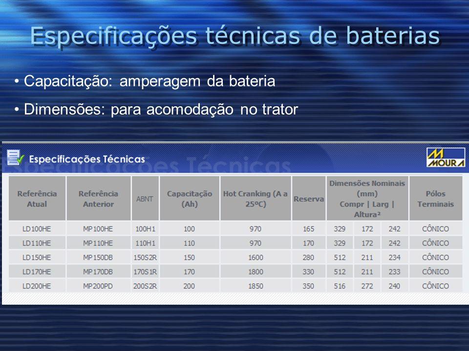 Especificações técnicas de baterias Capacitação: amperagem da bateria Dimensões: para acomodação no trator