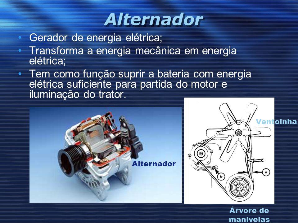 Alternador Gerador de energia elétrica; Transforma a energia mecânica em energia elétrica; Tem como função suprir a bateria com energia elétrica sufic