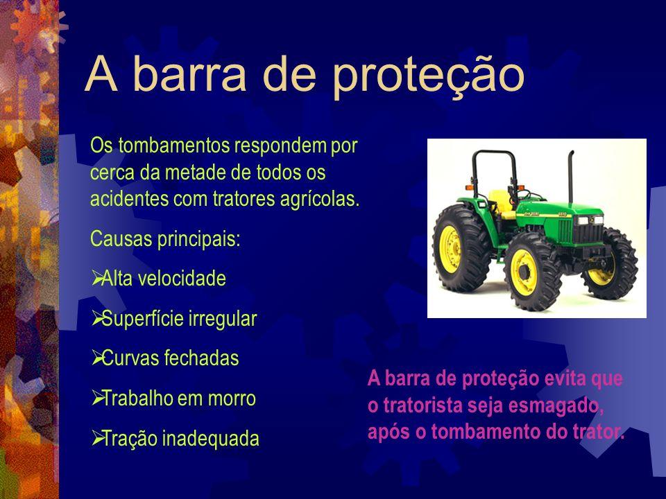 A barra de proteção Os tombamentos respondem por cerca da metade de todos os acidentes com tratores agrícolas. Causas principais: Alta velocidade Supe