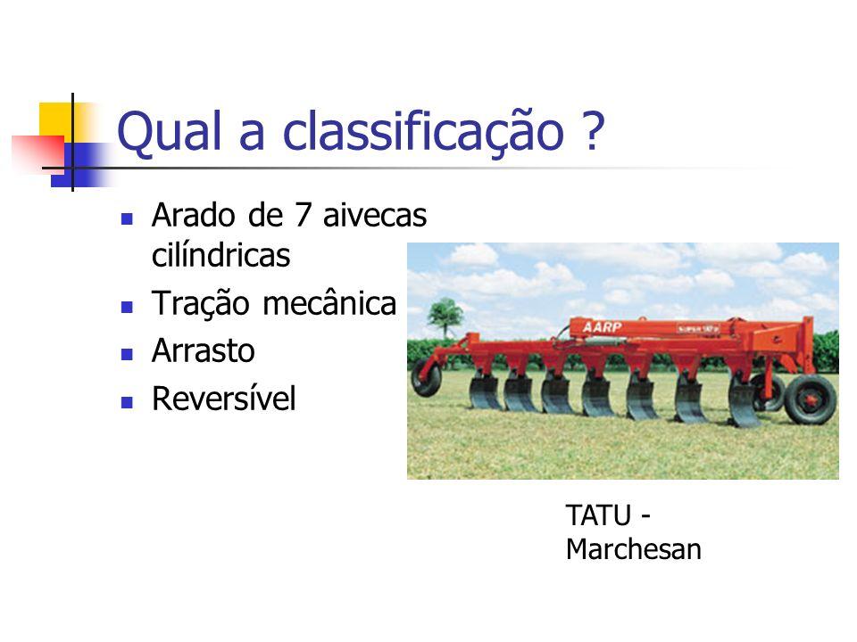 Qual a classificação ? Arado de 7 aivecas cilíndricas Tração mecânica Arrasto Reversível TATU - Marchesan