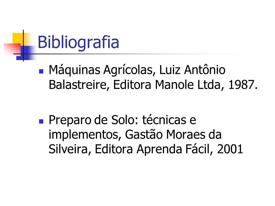 Bibliografia Máquinas Agrícolas, Luiz Antônio Balastreire, Editora Manole Ltda, 1987. Preparo de Solo: técnicas e implementos, Gastão Moraes da Silvei