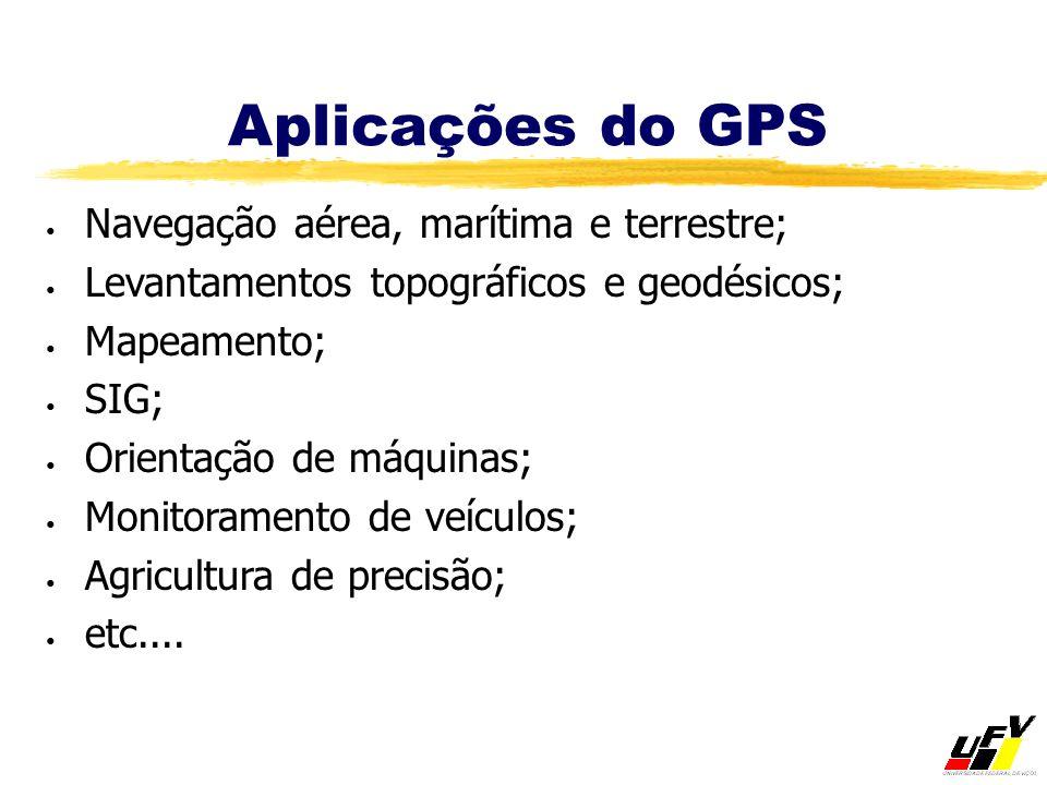 Aplicações do GPS Navegação aérea, marítima e terrestre; Levantamentos topográficos e geodésicos; Mapeamento; SIG; Orientação de máquinas; Monitoramen