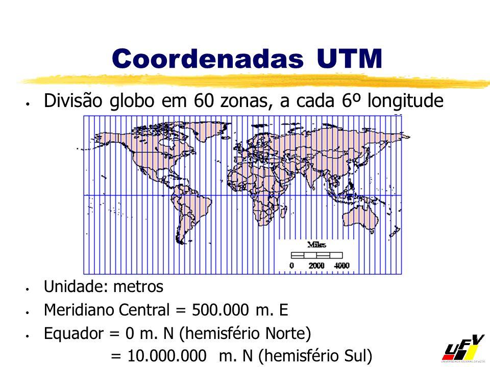 Coordenadas UTM Divisão globo em 60 zonas, a cada 6º longitude Unidade: metros Meridiano Central = 500.000 m. E Equador = 0 m. N (hemisfério Norte) =