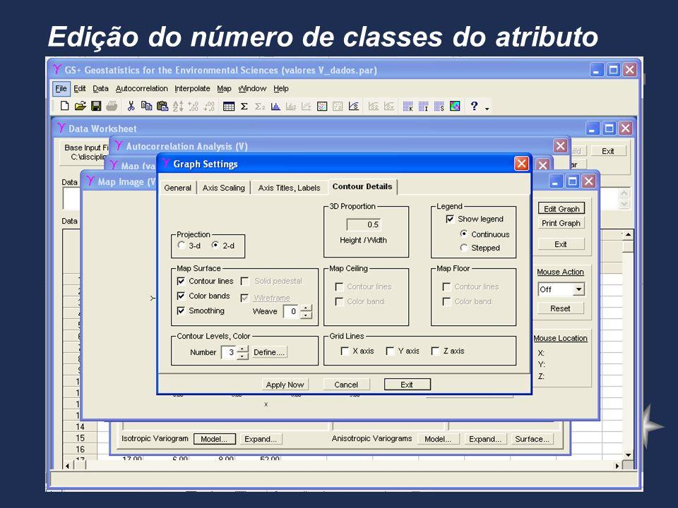 Edição do número de classes do atributo