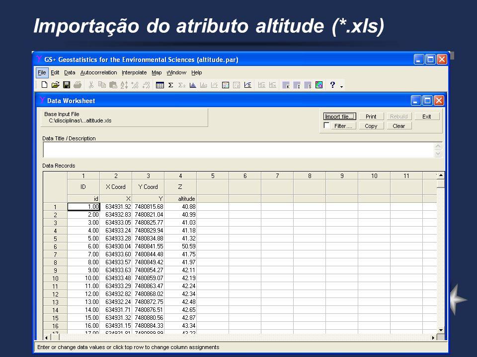 Importação do atributo altitude (*.xls)