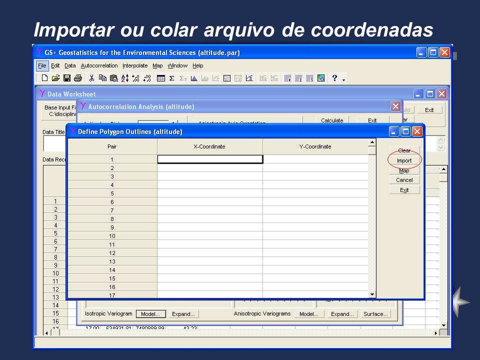 Importar ou colar arquivo de coordenadas