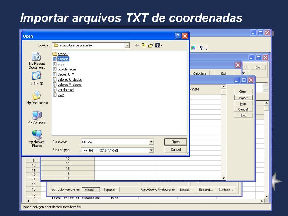Importar arquivos TXT de coordenadas