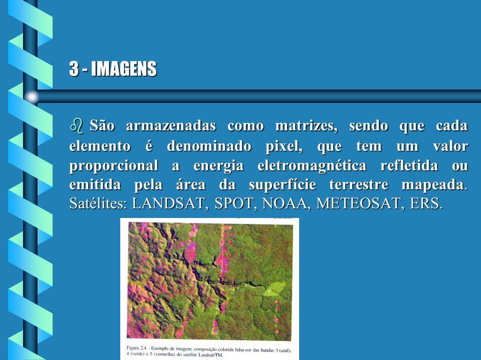 3 - IMAGENS b São armazenadas como matrizes, sendo que cada elemento é denominado pixel, que tem um valor proporcional a energia eletromagnética refle