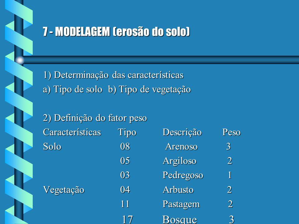 7 - MODELAGEM (erosão do solo) 1) Determinação das características a) Tipo de solo b) Tipo de vegetação 2) Definição do fator peso Características Tip