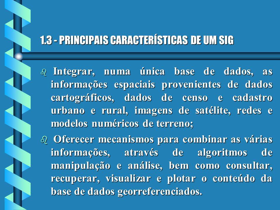 1.3 - PRINCIPAIS CARACTERÍSTICAS DE UM SIG b Integrar, numa única base de dados, as informações espaciais provenientes de dados cartográficos, dados d
