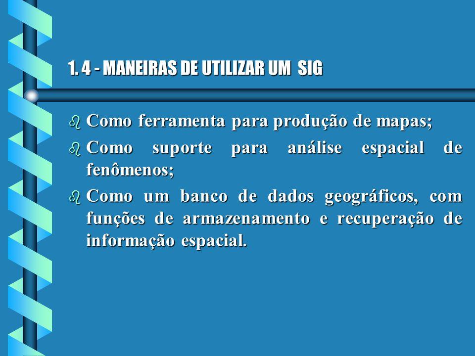 1. 4 - MANEIRAS DE UTILIZAR UM SIG b Como ferramenta para produção de mapas; b Como suporte para análise espacial de fenômenos; b Como um banco de dad