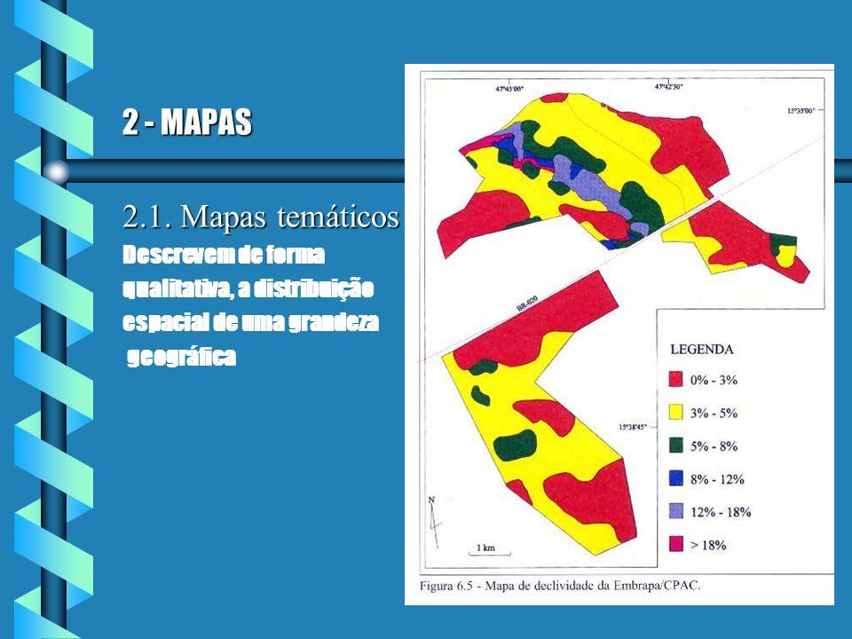 2 - MAPAS 2.1. Mapas temáticos Descrevem de forma qualitativa, a distribuição espacial de uma grandeza geográfica