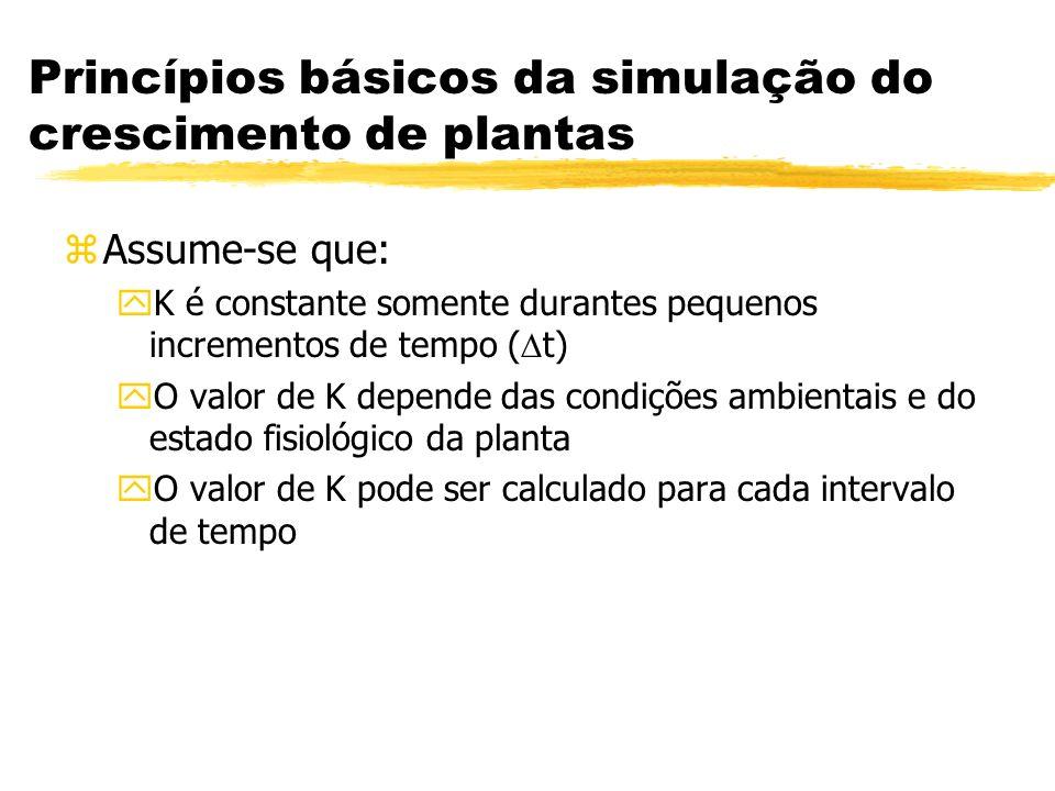 Princípios básicos da simulação do crescimento de plantas zAssume-se que: yK é constante somente durantes pequenos incrementos de tempo ( t) yO valor