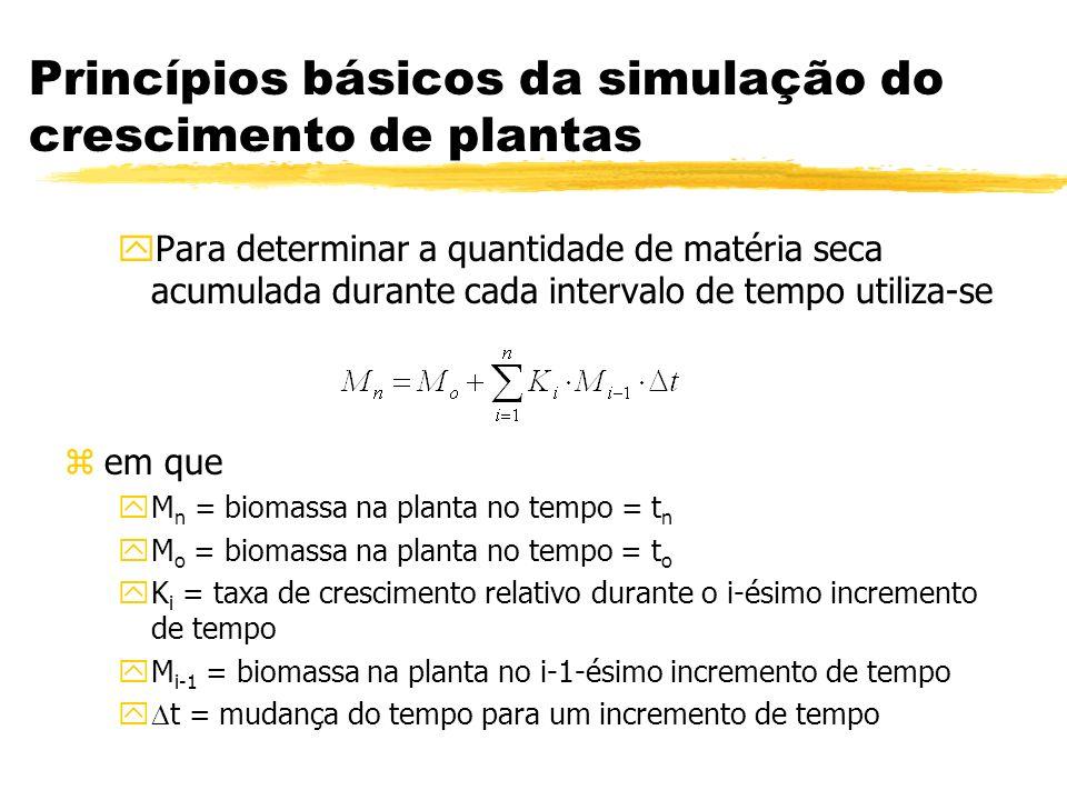 Princípios básicos da simulação do crescimento de plantas yPara determinar a quantidade de matéria seca acumulada durante cada intervalo de tempo util
