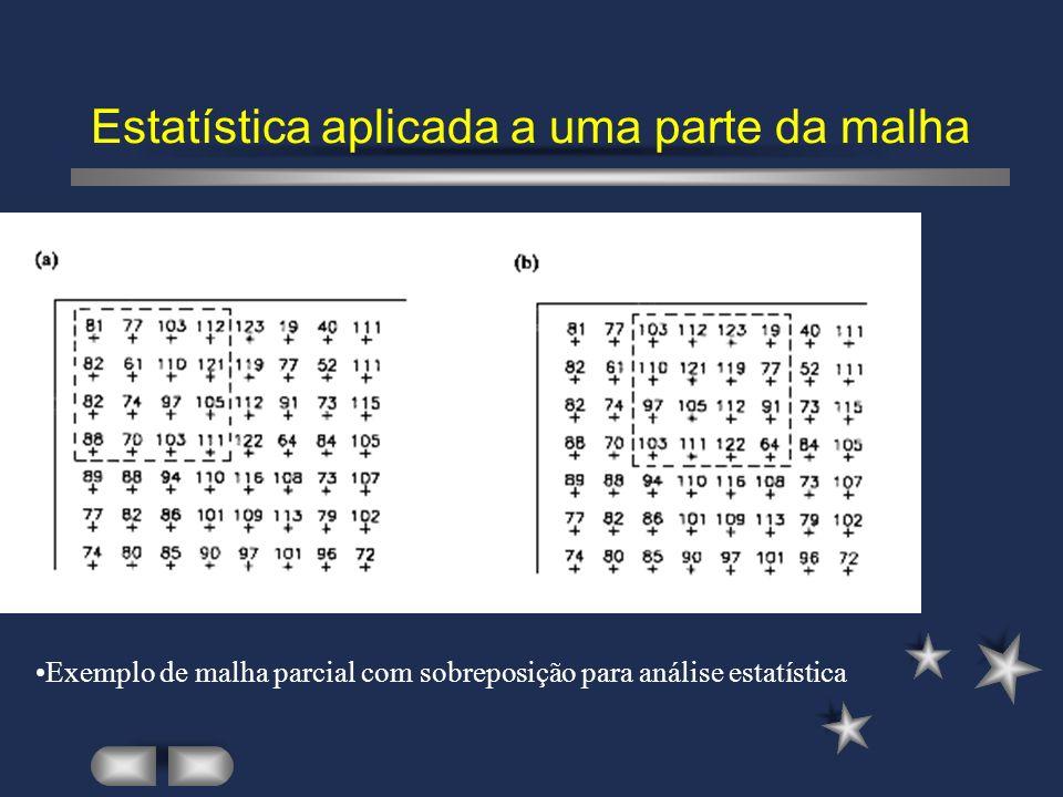 Estatística aplicada a uma parte da malha Exemplo de malha parcial com sobreposição para análise estatística