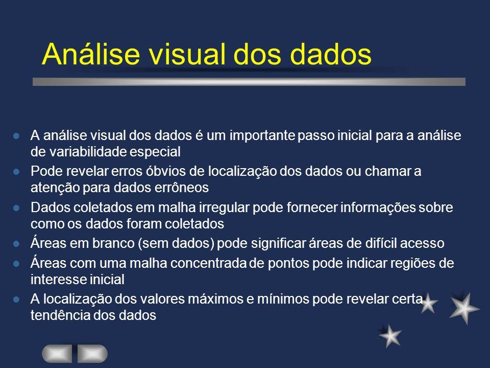 Estatística aplicada a uma parte da malha Estatística obtida para janelas defasadas de 2,00 m para os 100 valores da variável V.