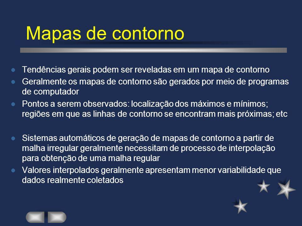 Mapas de contorno Mapa de contorno gerado a partir dos 100 valores selecionados da variável V.