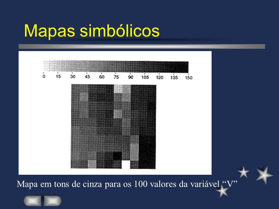 Mapas simbólicos Mapa em tons de cinza para os 100 valores da variável V