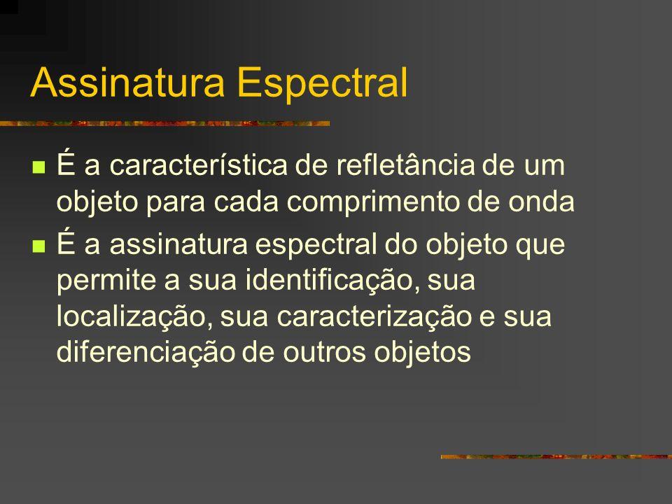 Assinatura Espectral É a característica de refletância de um objeto para cada comprimento de onda É a assinatura espectral do objeto que permite a sua