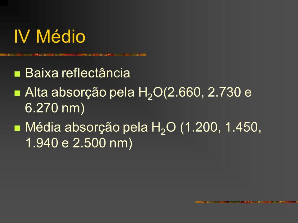 IV Médio Baixa reflectância Alta absorção pela H 2 O(2.660, 2.730 e 6.270 nm) Média absorção pela H 2 O (1.200, 1.450, 1.940 e 2.500 nm)