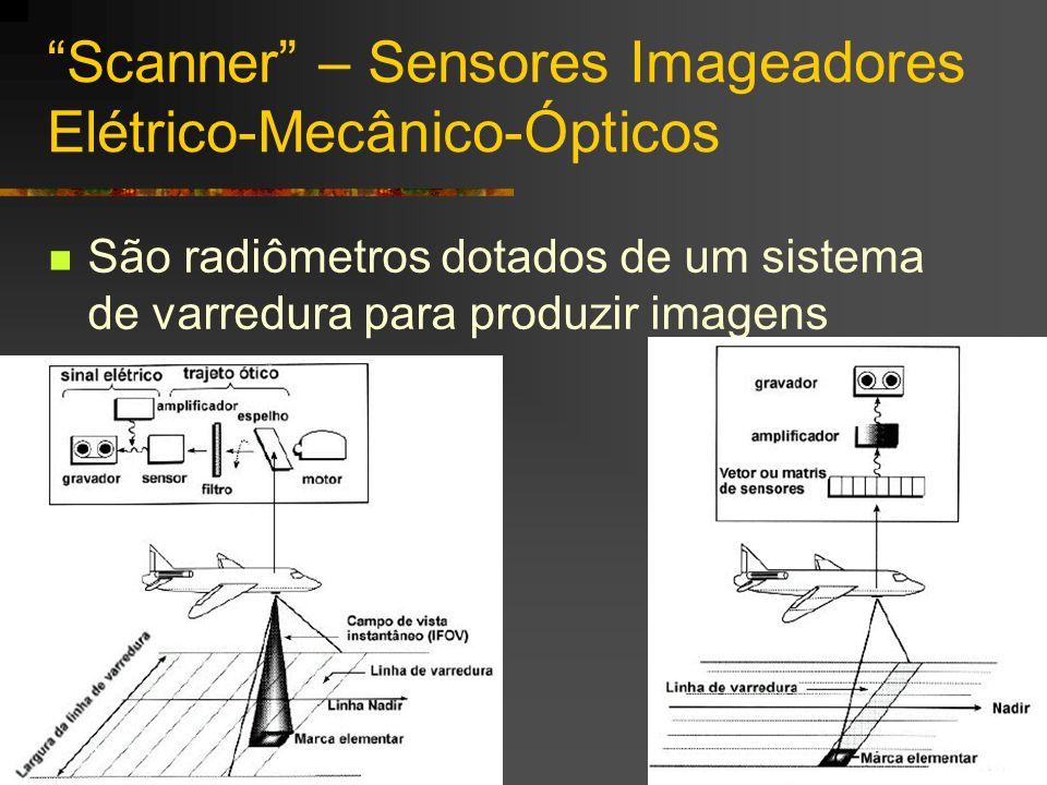 Scanner – Sensores Imageadores Elétrico-Mecânico-Ópticos São radiômetros dotados de um sistema de varredura para produzir imagens