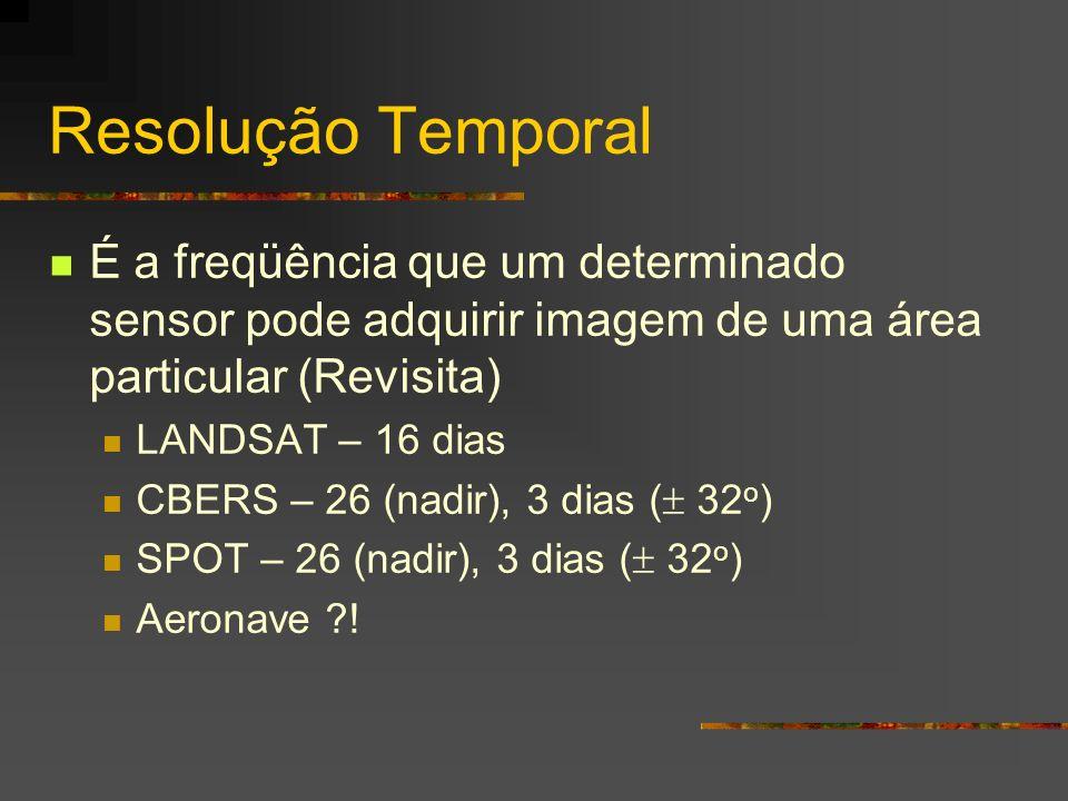 Resolução Temporal É a freqüência que um determinado sensor pode adquirir imagem de uma área particular (Revisita) LANDSAT – 16 dias CBERS – 26 (nadir