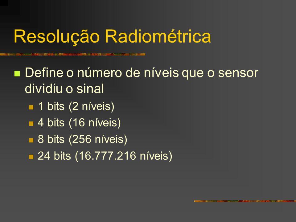 Resolução Radiométrica Define o número de níveis que o sensor dividiu o sinal 1 bits (2 níveis) 4 bits (16 níveis) 8 bits (256 níveis) 24 bits (16.777