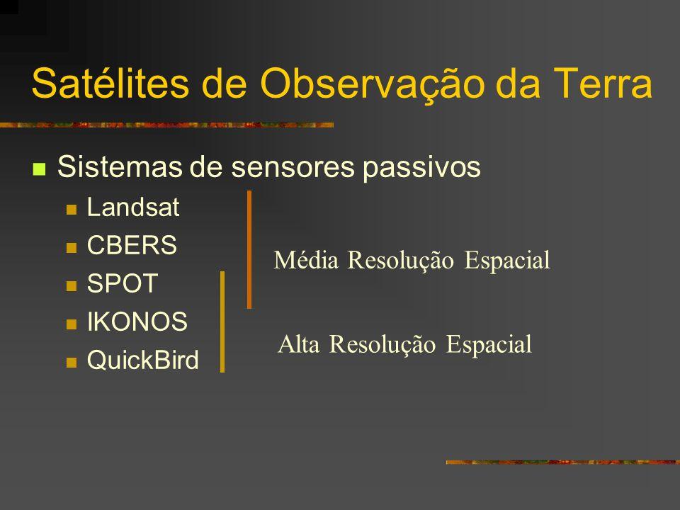 Satélites de Observação da Terra Sistemas de sensores passivos Landsat CBERS SPOT IKONOS QuickBird Média Resolução Espacial Alta Resolução Espacial