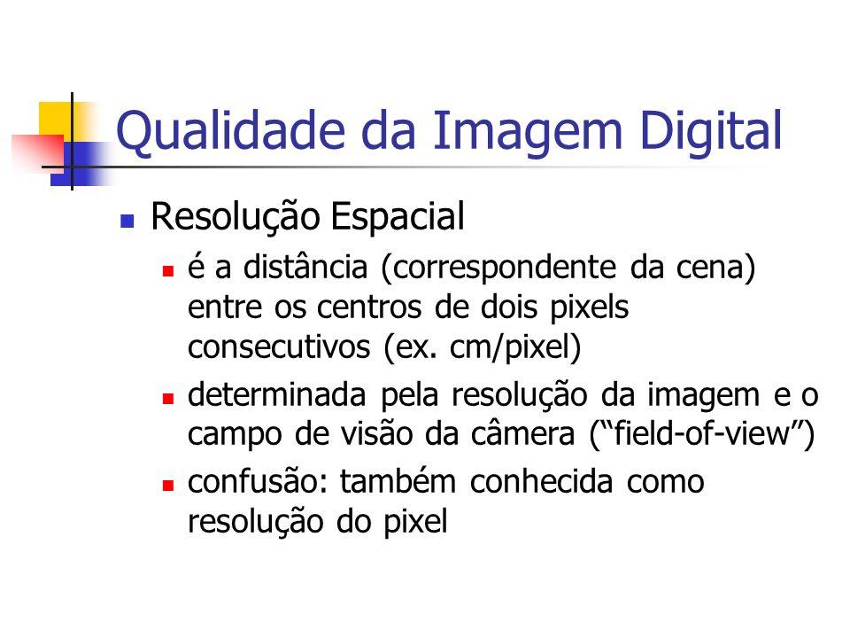 Qualidade da Imagem Digital Resolução Espacial é a distância (correspondente da cena) entre os centros de dois pixels consecutivos (ex. cm/pixel) dete