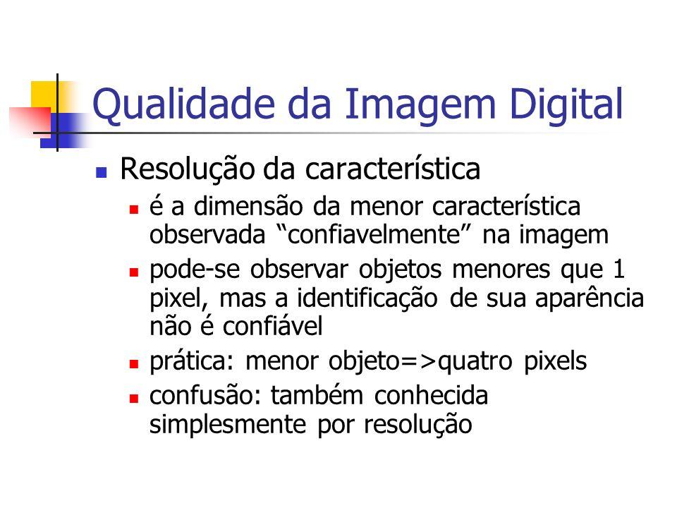 Qualidade da Imagem Digital Resolução da característica é a dimensão da menor característica observada confiavelmente na imagem pode-se observar objet