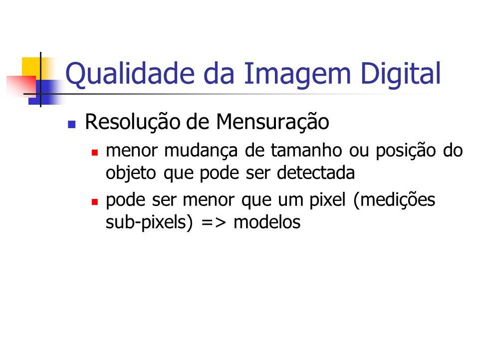 Qualidade da Imagem Digital Resolução de Mensuração menor mudança de tamanho ou posição do objeto que pode ser detectada pode ser menor que um pixel (