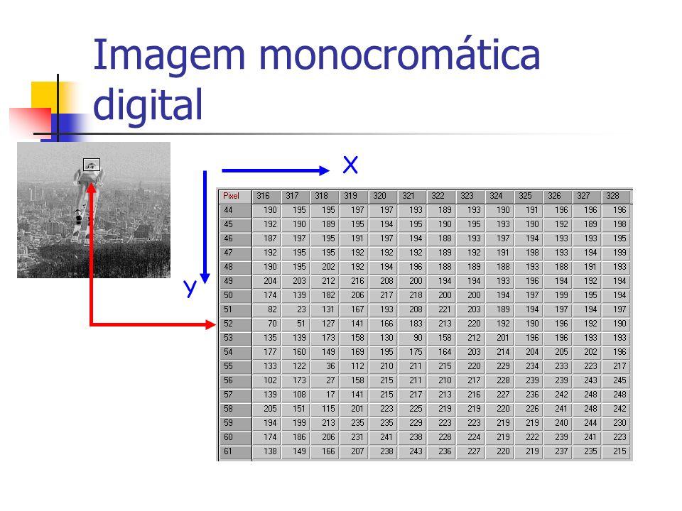 Imagem Digital Amostragem => tamanho da imagem digital, MxN Quantização => número de níveis de cinza = k=1 – imagem binária k>1 – imagem monocromática