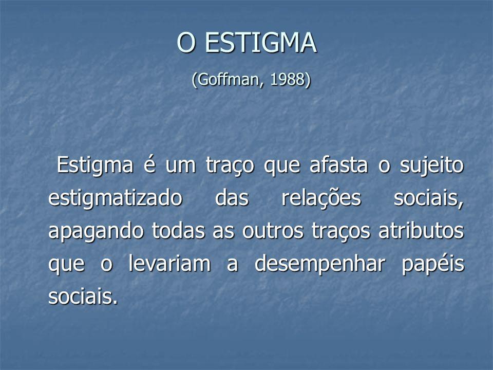 O ESTIGMA (Goffman, 1988) Estigma é um traço que afasta o sujeito estigmatizado das relações sociais, apagando todas as outros traços atributos que o