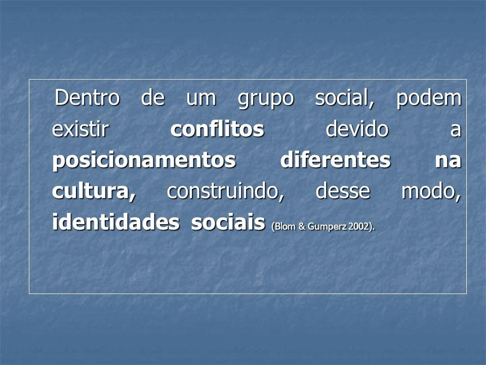 Dentro de um grupo social, podem existir conflitos devido a posicionamentos diferentes na cultura, construindo, desse modo, identidades sociais (Blom