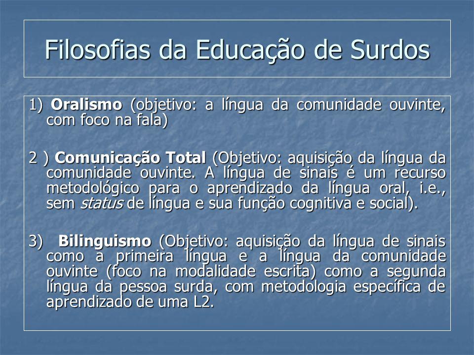 Filosofias da Educação de Surdos 1) Oralismo (objetivo: a língua da comunidade ouvinte, com foco na fala) 2 ) Comunicação Total (Objetivo: aquisição d