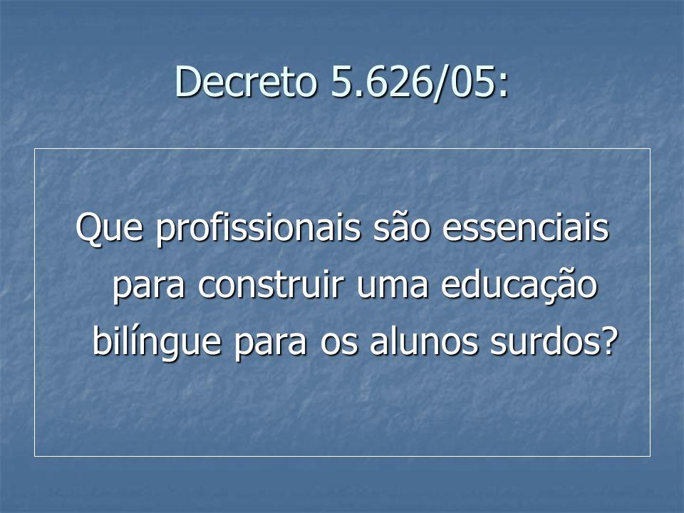 Decreto 5.626/05: Que profissionais são essenciais para construir uma educação bilíngue para os alunos surdos?