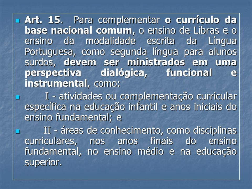 Art. 15. Para complementar o currículo da base nacional comum, o ensino de Libras e o ensino da modalidade escrita da Língua Portuguesa, como segunda