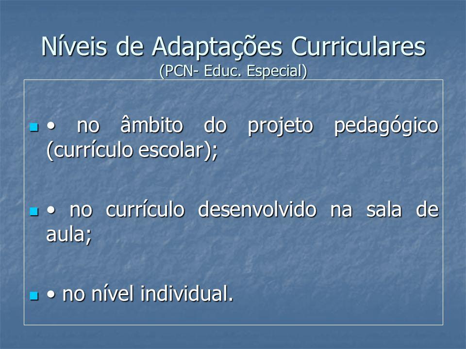 Níveis de Adaptações Curriculares (PCN- Educ. Especial) no âmbito do projeto pedagógico (currículo escolar); no âmbito do projeto pedagógico (currícul
