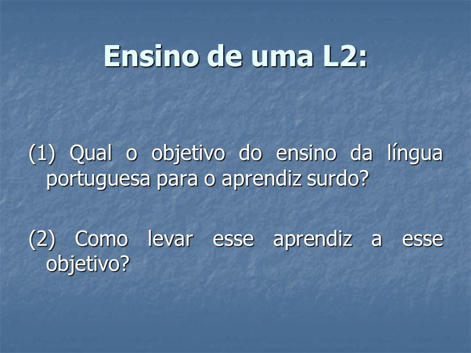 Ensino de uma L2: (1) Qual o objetivo do ensino da língua portuguesa para o aprendiz surdo? (2) Como levar esse aprendiz a esse objetivo?