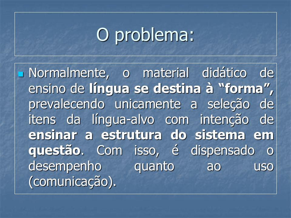 O problema: Normalmente, o material didático de ensino de língua se destina à forma, prevalecendo unicamente a seleção de itens da língua-alvo com int