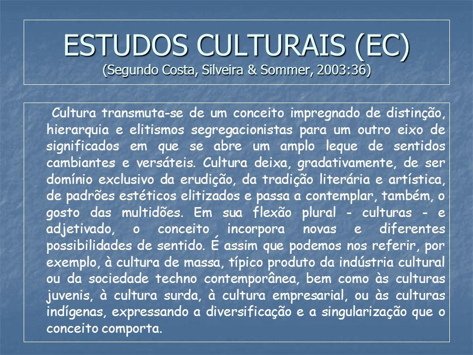 ESTUDOS CULTURAIS (EC) (Segundo Costa, Silveira & Sommer, 2003:36) Cultura transmuta-se de um conceito impregnado de distinção, hierarquia e elitismos